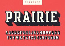 Prairie vector condensed retro typeface, uppercase letters and n. Umbers, alphabet, font, typography. Global swatches Stock Images