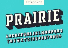 Prairie vector condensed retro typeface, uppercase letters and n. Umbers, alphabet, font, typography. Global swatches Royalty Free Stock Image