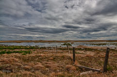 Prairie Wetlands. Stormy sky in prairie wetlands with a run down fence Royalty Free Stock Image