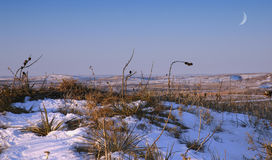 Prairie Winter. Prairie lanscape during winter complete with snow and moon Stock Photo