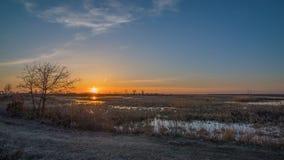 Prairiemoerasland/weide en landelijk grasrijk landweglandschap bij zonsondergang met sinaasappel, geel, en blauw in hemel - sprin royalty-vrije stock afbeeldingen