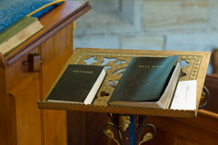 Praise. A Pulpit with Bibles in A Church Stock Photography