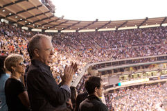 Praise. People praising during the Harvest Crusade at Angels Stadium Royalty Free Stock Photos