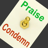 Praise Condemn Lever Means Congratulating Or Telling Off Stock Image