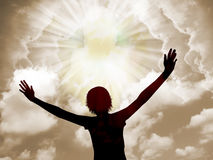 Praise God. Young woman worship and praise the lord royalty free stock photography
