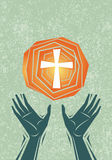 Praise Hands And Cross Royalty Free Stock Image