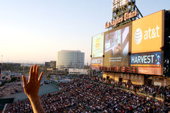 Praise during Harvest Crusade. People praising during the Harvest Crusade at Angels Stadium Royalty Free Stock Photos