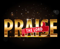Praise the lord concept of worship, golden typography with thumbs up sign Stock Photo