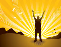Praise Man. Silhouette of person at sunset. Separated elements Royalty Free Stock Images