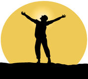Praise. Silhouette of person against a sun stock illustration