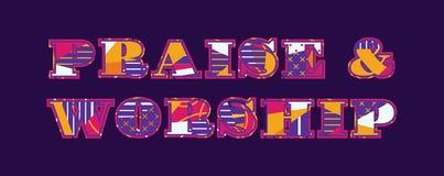 Praise & Worship Concept Word Art Illustration royalty free illustration