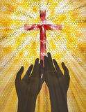 Praising. Two hands gesture toward illustrated stained glass cross Royalty Free Stock Photo