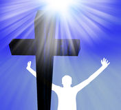 Praising the Lord - Jesus Christ is alive Stock Photo