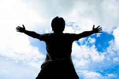 Praisr在天空背景中。 免版税库存照片