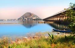 Prakasam堰坝在维杰亚瓦达 免版税库存图片