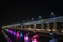 Prakasam堰坝路,维杰亚瓦达,安得拉邦 库存图片
