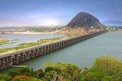 Prakasam堰坝,印度 库存图片