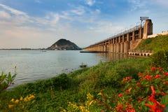 Prakasam Barrage bridge. Historic Prakasam Barrage in Vijayawada South India stock photography