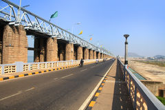 Prakasam Barrage over river Krishna in India stock photography