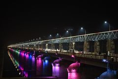 Prakasam Barrage Road, Vijayawada, Andhra Pradesh. Prakasam Barrage Road night view, Vijayawada, Andhra Pradesh, India Stock Photography