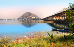 Prakasam Barrage in Vijayawada royalty free stock images