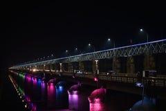Prakasam barrage, Vijaywada, Andhra Pradesh. Prakasam barrage night view, Vijaywada, Andhra Pradesh, India stock images