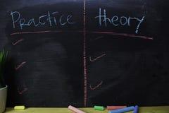 Praktijk of Theorie met het concept van het kleurenkrijt op het bord wordt geschreven dat stock afbeeldingen