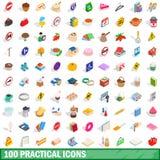 100 praktische geplaatste pictogrammen, isometrische 3d stijl Royalty-vrije Stock Foto's