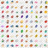 100 praktische geplaatste pictogrammen, isometrische 3d stijl Royalty-vrije Stock Fotografie