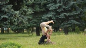 Praktiserande acroyoga för härliga par Unga yogainstruktörer övar i en stad parkerar på grönt gräs Lyckade två arkivfilmer