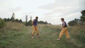 Praktiserande fri kamp för två män på naturen 4K stock video