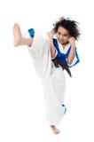 Praktiserande karate för ung unge Royaltyfri Fotografi