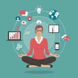 Praktiserande meditation för affärskvinna vektor illustrationer