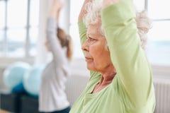Praktiserande yoga för hög kvinna på idrottshallen Royaltyfri Foto