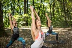 Praktiserande yoga för konditiongrupp utanför Arkivfoton