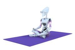 Praktiserande yoga för robot Fotografering för Bildbyråer