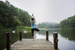 Praktiserande yoga för ung sund kvinna på bron arkivbild