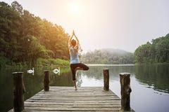 Praktiserande yoga för ung sund kvinna på bron arkivbilder