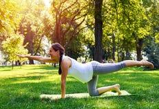 Praktiserande yogaställing för gravid kvinna på matt yoga Arkivbild