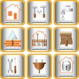 praktiska set hjälpmedel för trädgårds- hus Arkivbild