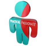 Praktiskt Vs passionerade Person Behavior Qualities 3d Illustratio royaltyfri illustrationer