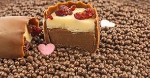 Pralina affettata del mirtillo rosso del brandy della ciliegia sul fondo delle palle del cioccolato Fotografia Stock