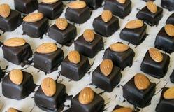 Chocolate pralines. Series of handmade almond praline chocolate  being made by an artisan chocolatier Royalty Free Stock Photo