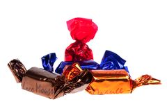 Praline in foil isolated Stock Image