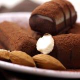 Pralinen mit Kakao Stockbild