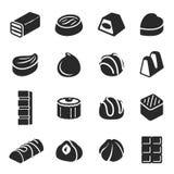 Pralinesüßigkeitenzusammenstellungsschwarz-Ikonensatz stockfoto