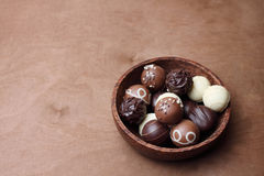 Pralines in a bowl Stock Photos