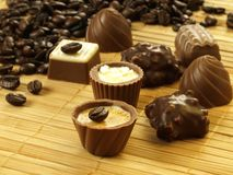 Pralines with coffee grains Stock Image