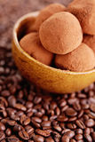 Pralines with coffee Royalty Free Stock Image