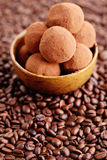 Pralines with coffee Royalty Free Stock Photo